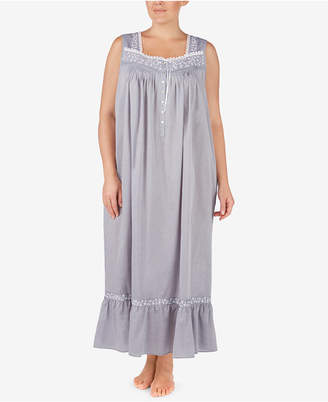 Eileen West Plus Size Cotton Chambray Ballet Nightgown