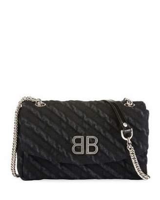 Balenciaga BB Chain Destroyed Denim Crossbody Bag
