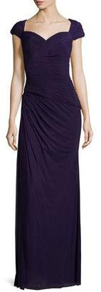 La Femme Cap-Sleeve Ruched Sweetheart Gown, Plum $378 thestylecure.com