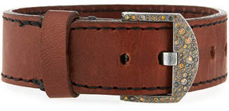Todd Reed Silver, Leather & Diamond Buckle Bracelet