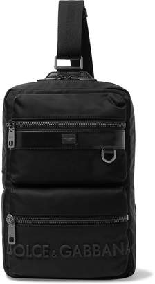 Dolce & Gabbana Logo-Detailed Leather-Trimmed Canvas Backpack - Men - Black