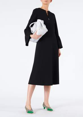Tibi Structured Crepe V-Neck Ruffle Sleeve Midi Dress
