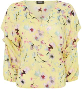 Girls On Film Floral Print Long Sleeve Wrap Blouse