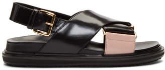Marni Black and Pink Fussbett Sandals