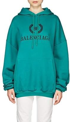 Balenciaga Women's Crest-Logo Cotton Fleece Hoodie - Green