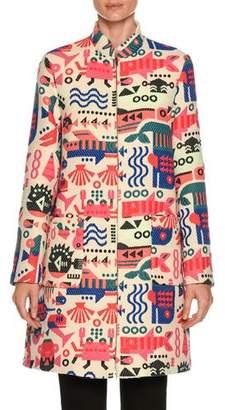 Emporio Armani Cyber Underwater World High-Neck Embroidered Coat