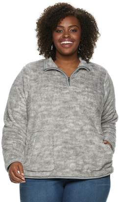 Sonoma Goods For Life Plus Size SONOMA Goods for Life Supersoft Half-Zip Sherpa Sweatshirt