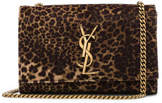 Saint Laurent Small Leopard Print Velvet Monogramme Kate Chain Bag