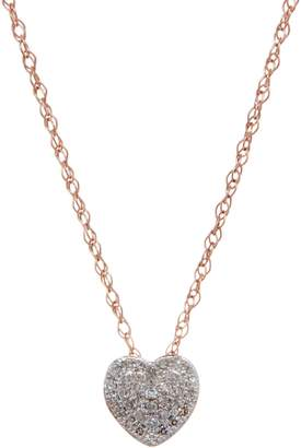 Affinity Diamond Jewelry Pave' Heart Pendant on Chain, 14K, 1/10 cttw, by Affinity