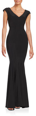 Betsy & Adam Knit Trumpet Gown $229 thestylecure.com