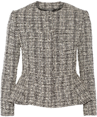 Alexander McQueen - Cotton And Wool-blend Tweed Peplum Jacket - Black $1,895 thestylecure.com