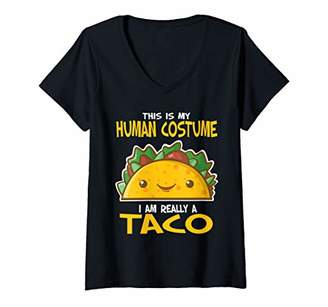 Womens This Is My Human Costume I'm Really A Taco V-Neck T-Shirt
