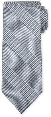 Brioni Houndstooth Plaid Silk Tie