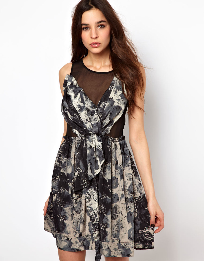 Religion Printed Dress With Sheer Panels
