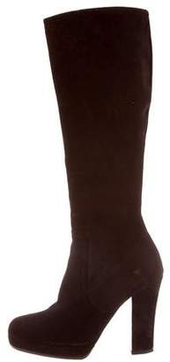 Miu Miu Suede Knee-High Platform Boots