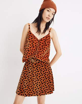 Madewell Velvet Button-Front Cami in Leopard Dot