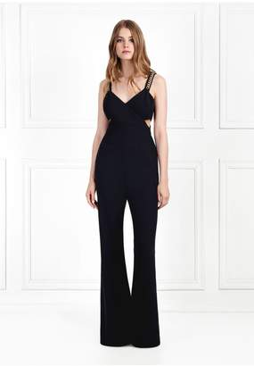 Rachel Zoe Bettina Chain Embellished Twill Jumpsuit