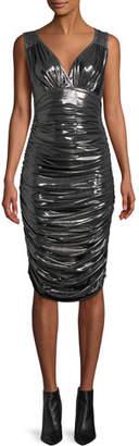 Norma Kamali Tara Shirred Cocktail Dress in Metallic Jersey