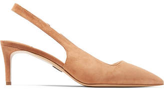 Paul Andrew Coquette Suede Slingback Pumps - Beige