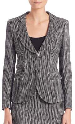 Armani Collezioni Chevron Jacquard Two-Button Jacket