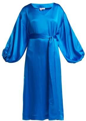 Rhode Resort - Delilah Balloon Sleeved Silk Dress - Womens - Blue