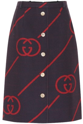 Gucci Reversible wool midi skirt