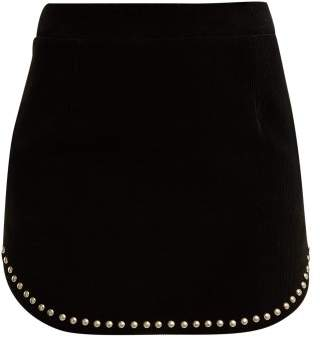 Saint Laurent Studded Cotton Corduroy Mini Skirt - Womens - Black