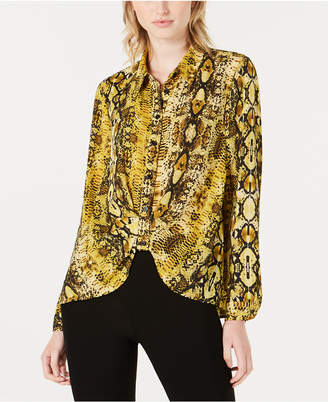 Bar III Printed Button-Front Shirt, Created for Macy's