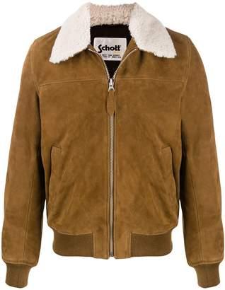 Schott oversized collar zip-front jacket