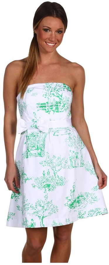 Lilly Pulitzer Amberly Dress (Resort White Spring Fever Toile) - Apparel
