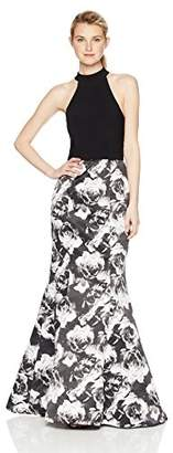 Blondie Nites Women's Long ity Web Back with Printed Trumpet Skirt