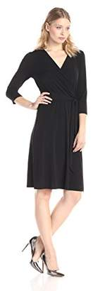 NY Collection Women's B-Slim Three-Quarter Sleeve Dress with Tie At Waist