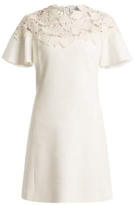 Giambattista Valli Macramé-trimmed fluted-sleeves crepe dress