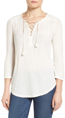 Lucky Brand Lace-Up Peasant Blouse $59.50 thestylecure.com