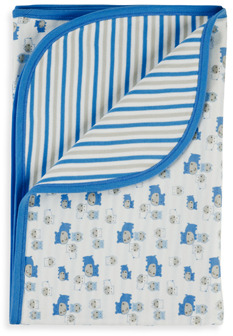 Gerber Blue Hippo Organic Reversible Receiving Blanket