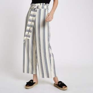 River Island Womens Blue stripe paperbag belted culottes