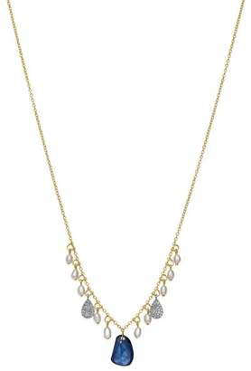 Meira T 14K White & Yellow Gold Sapphire, Cultured Freshwater Pearl & Diamond Dangle Necklace, 16""