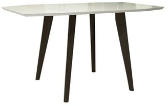 Mid-Century MODERN Incadozo Sinclair Extendable Matte White and Brown Oak Finish Indoor Dining Table