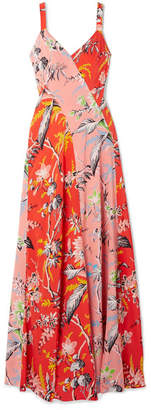 Diane von Furstenberg Paneled Floral-print Silk Crepe De Chine Maxi Dress - Red