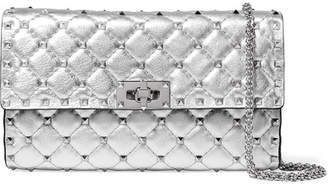 Valentino Garavani The Rockstud Spike Quilted Metallic Textured-leather Shoulder Bag - Silver