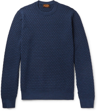 Tod's Slim-Fit Basketweave Merino Wool and Silk-Blend Sweater $625 thestylecure.com