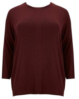 Evans Berry Long Sleeve Pleat Top