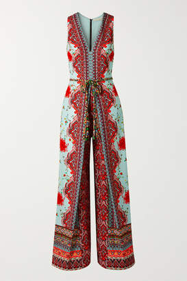 Alice + Olivia Alice Olivia - Audrie Pleated Printed Crepe De Chine Jumpsuit - Red