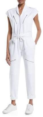 Carolina Ritzler Bathilde Cap-Sleeve Zip-Front Straight-Leg Utility Denim Jumpsuit