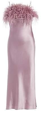 Cinq à Sept Women's Cerise Feather Silk Slip Dress - Size 0
