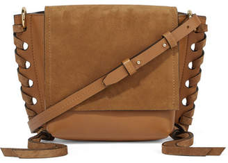 Isabel Marant Kleny Whipstitched Leather And Suede Shoulder Bag - Dark brown