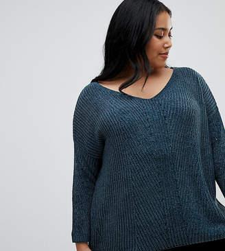 Brave Soul Plus Sahara V Neck Sweater in Chenille