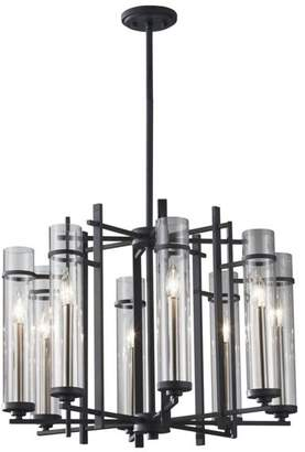 Feiss Murray 8 Ethan Wrought Iron Eight Light 1 Tier Chandelier With Clear Glass Shades