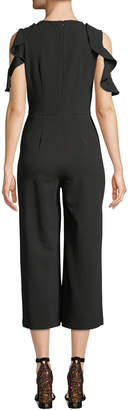Donna Morgan Cold-Shoulder Ruffled Crop Jumpsuit