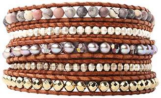 Chan Luu Taupe Mix of Semi-Precious Stones On Natural Dark Leather Wrap Bracelet